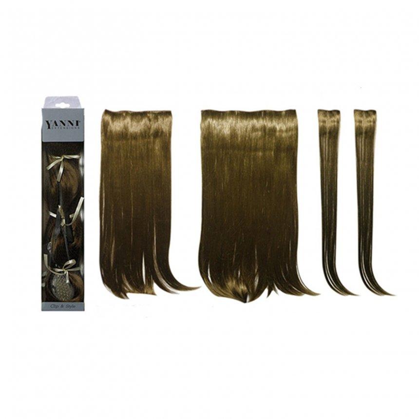 ΣΕΤ Extensions Συνθετικό Ίσιο Καστανό 55cm