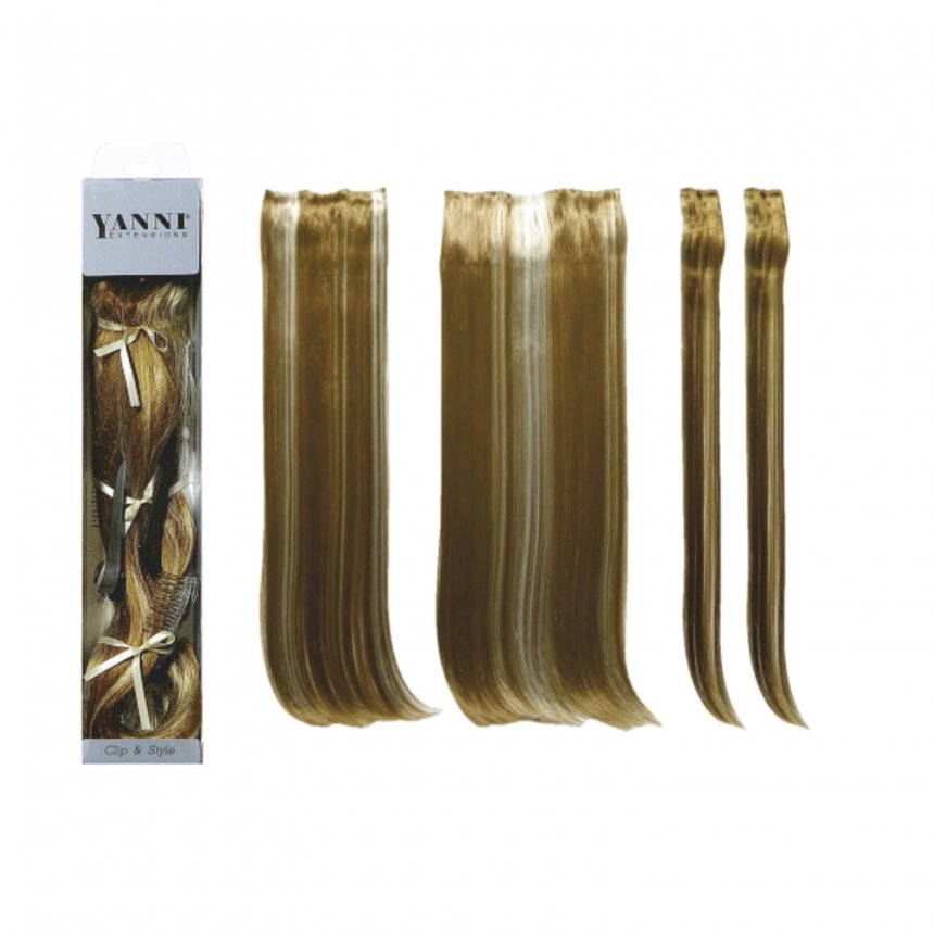 ΣΕΤ Extensions Συνθετικό Ίσιο Ξανθό 2χρωμο 55cm